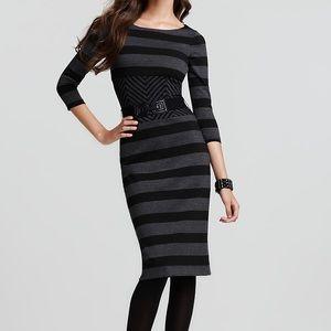BCBG MAXAZRIA Roslyn Stripe 3/4 Sleeve Midi Dress